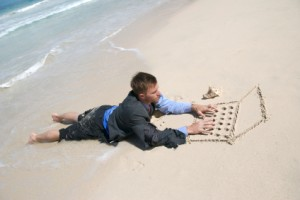 working-man-on-beach